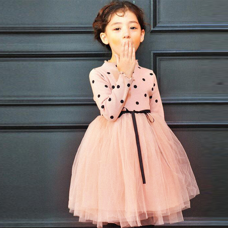 Dresses for Girls Autumn Mesh Dresses Children Spring Clothes Vestidos Infantil 4 6 8 9 10  Years Girls Kids Dot Dresses цена и фото