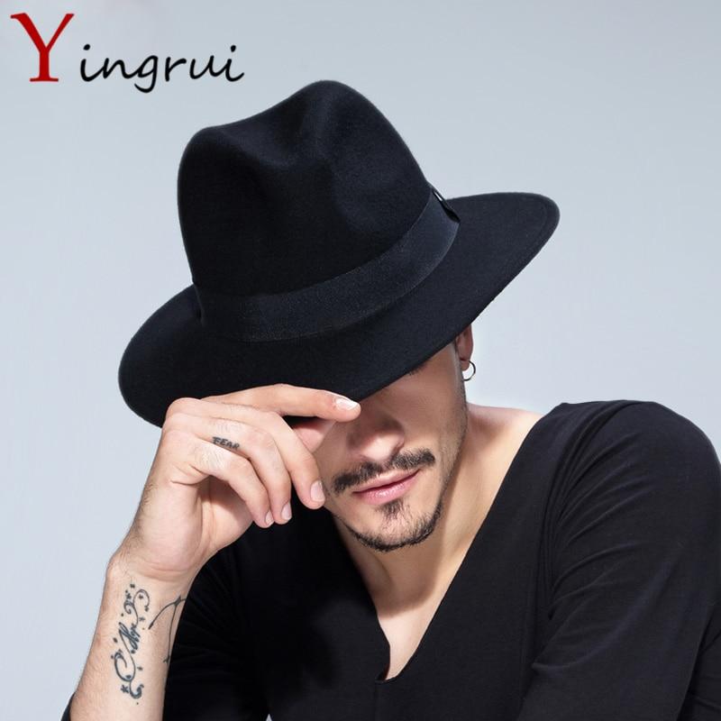 Spring Wide Brim <font><b>Fedora</b></font> Men Women Vintage Jazz Hats Fashion Stars Wool felt hat Unisex Black Felt Bowler Trilby