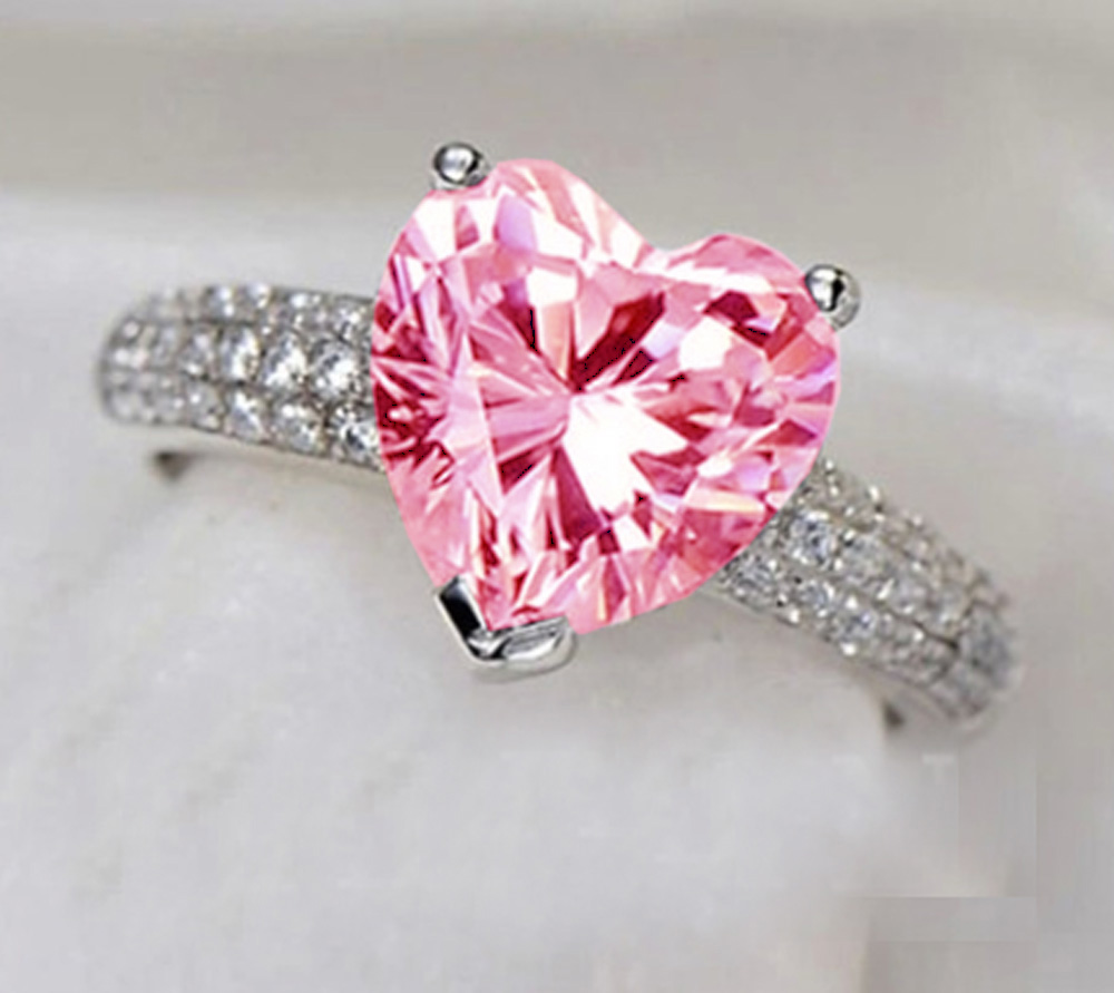 rings wedding pink diamond heart band caymancode