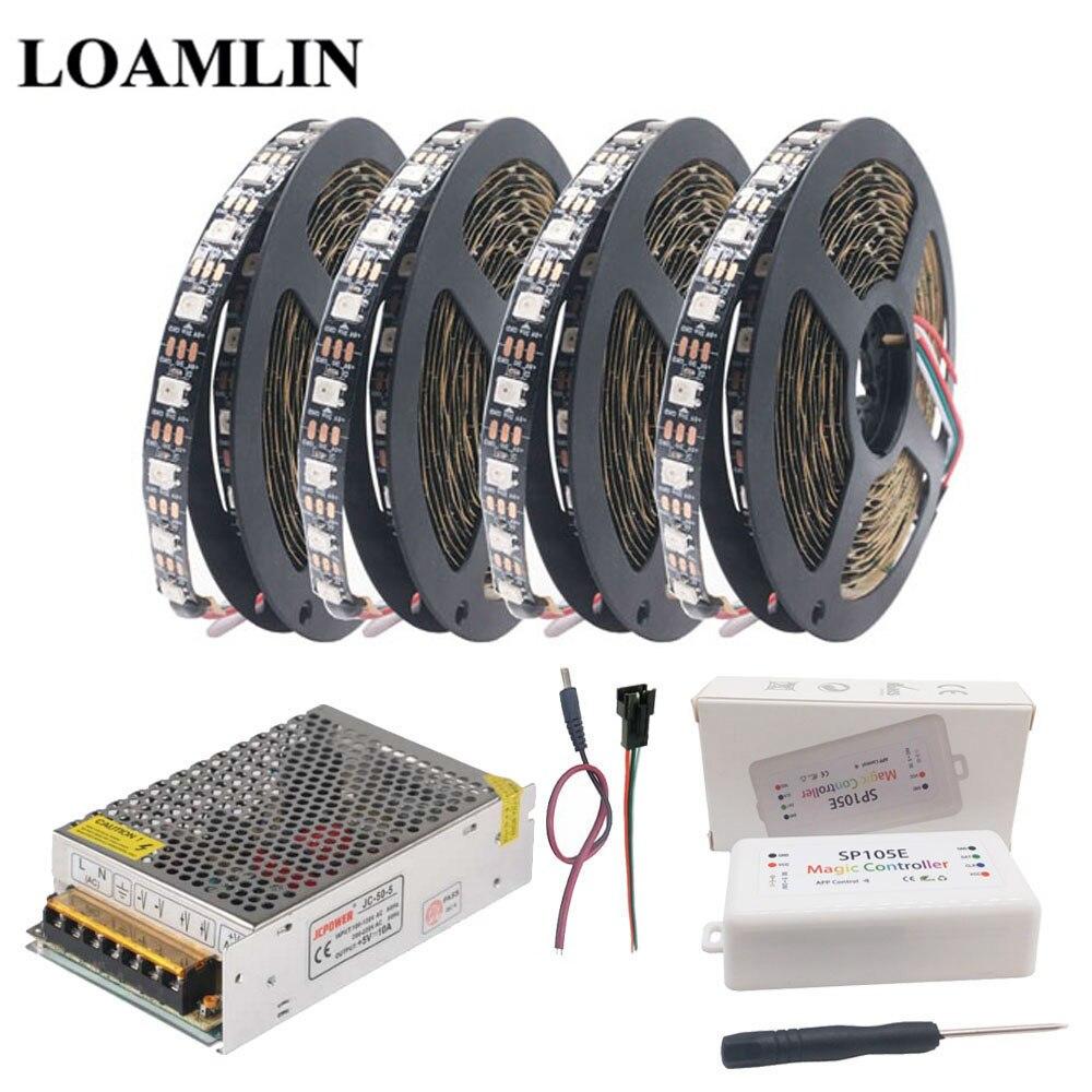 WS2812B WS2812 30Leds/m 60Leds/m RGB Led Strip,SP105E Bluetooth RGB Led Controller DC5V Power Supply Adapter Kit