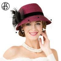 FS Elegant Women Wine Red Black Flower Straw Hat With Mesh Veil For Summer Ladies Cloche Felt Fedora Hats Short Brim Sweet Cap