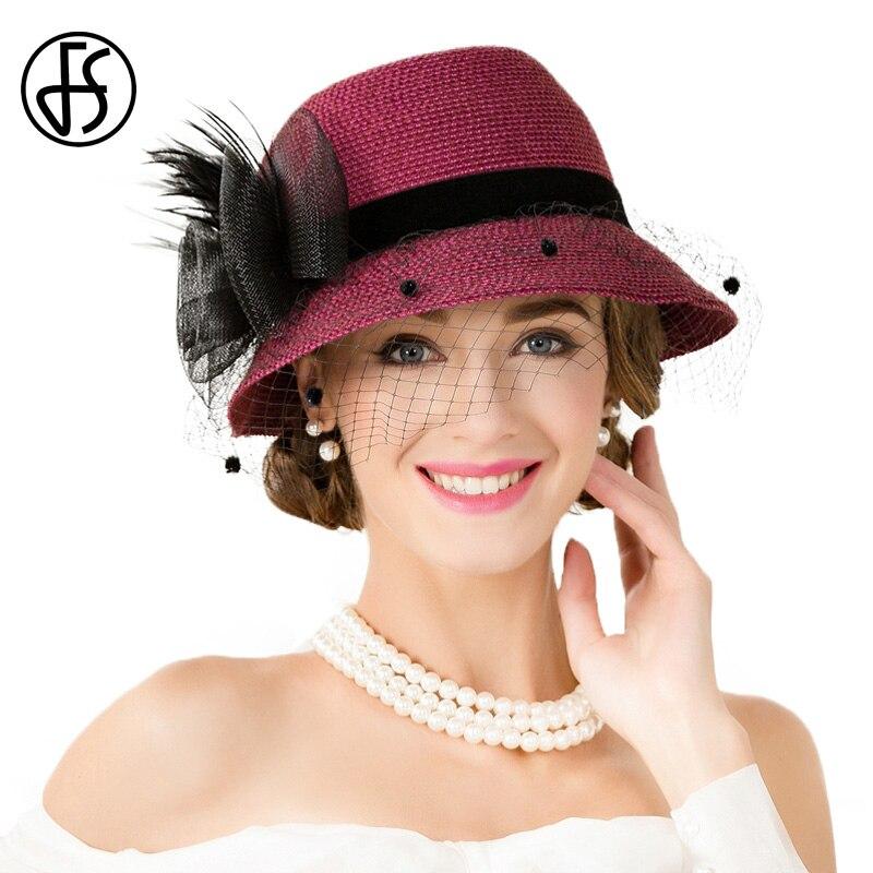 №FS elegante mujeres vino rojo negro flor sombrero de paja con malla ...