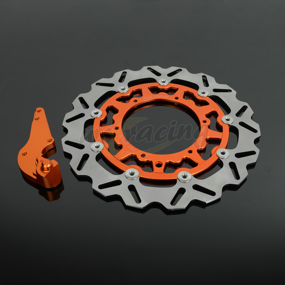 CNC 320MM Motorcycle Front Floating Brake Disc & Bracket For KTM GS250 MX250 MXC250 SX250 SXF250 SXS250 XCF250 XCW250 EXC300 cnc stunt clutch lever easy pull cable system for ktm exc excf xc xcf xcw xcfw mx egs sx sxf sxs smr 50 65 85 125 150 200 250