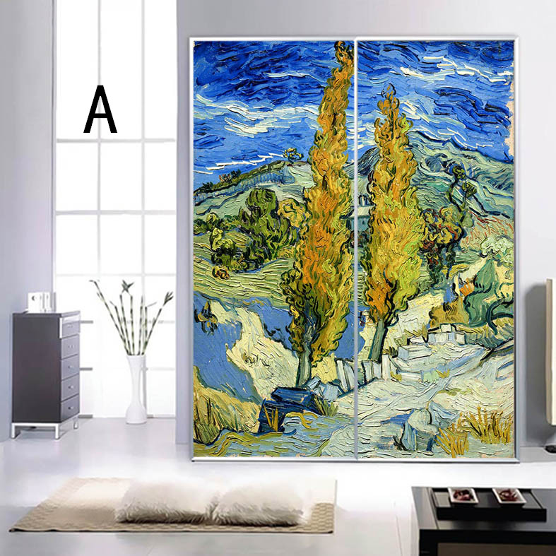 stained glass film frosted glass sliding door static film grilles bedroom window sticker translucent glass closet