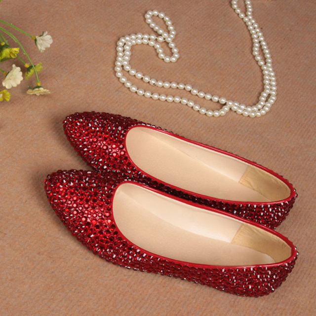 Personalized Wedding Slippers Bridal Party Slippers: Elegant Red Flats Perfect Custom Made Wedding Evening