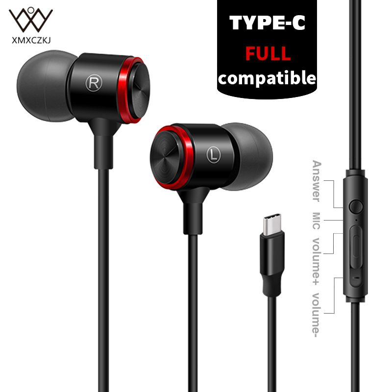 XMXCZKJ Type-C Earphone Wired In-Ear Headset Stereo Earphones Volume Control USB C Earbuds Extra Bass With Mic for HTC OnePlus