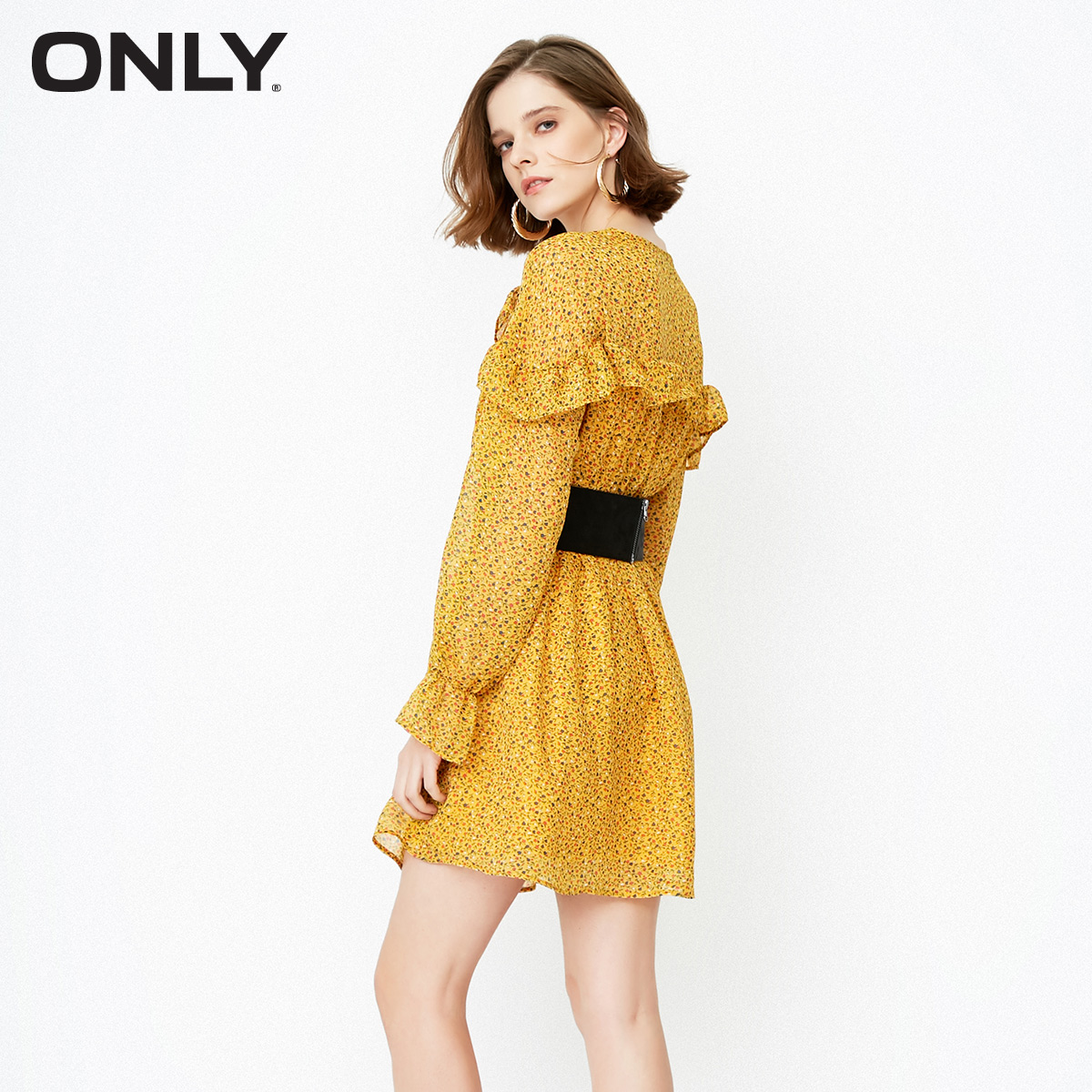 ONLY Brand 2019 Spring Summer Women Dress Fashion Casual Long Sleeve Sweet Floral Chiffon Dress 118107586 in Dresses from Women 39 s Clothing