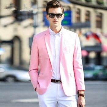 Pink Coat White Pant Men Suit Wedding 2 Pieces Jacket+Pants+Tie Custom Made Groom Tuxedos Fashion Notch Lapel Blazer For Man