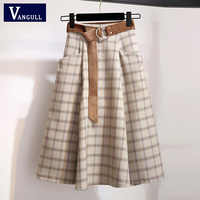 VANGULL plaid Women Skirts Autumn Plus Size A-line Long Girls Skirt Female Vintage Warm Thick Winter High Waist Female Skirts