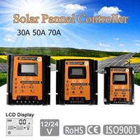 30A/50A/70A 12V 24V Auto Solar Charge Controller PWM With LCD Solar Cell Panel Regulator PV Home