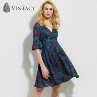 Vintacy Women Dress New Blue Yellow Vintage Floral V Neck Flare Sleeve Short Office Dresses Summer