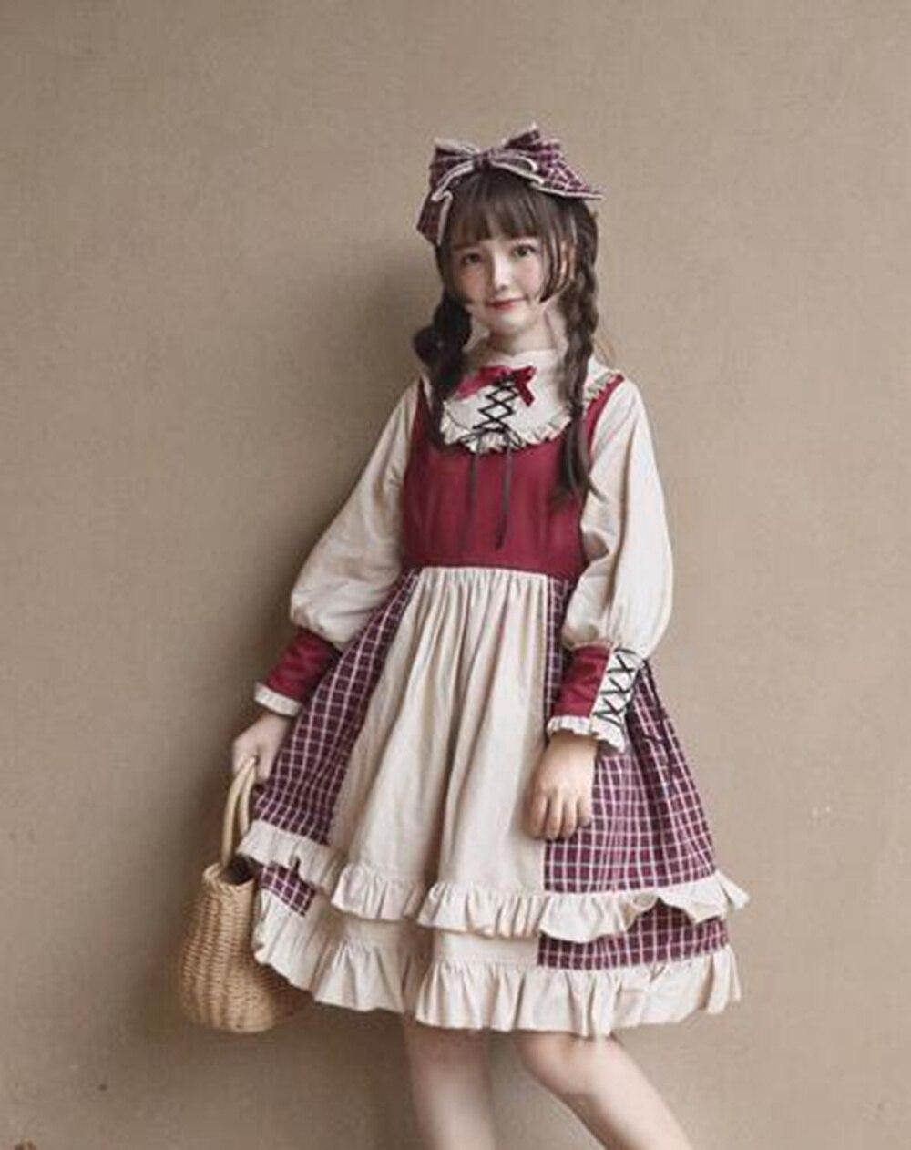 Mori Girls Cute Lolita Dress Vintage French Women Long Sleeve Ruffles Dresses