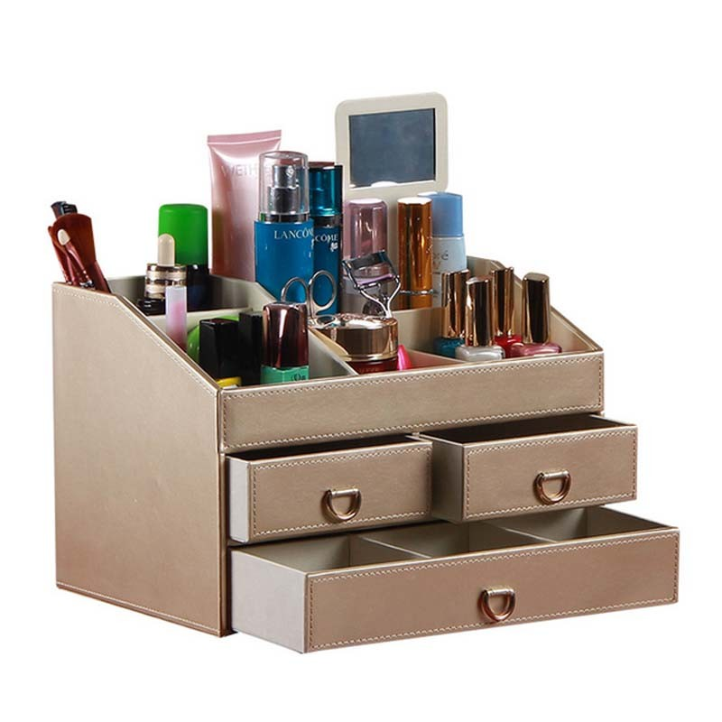 Makeup Organizer With Drawer Cosmetics Storage Box Jewelry Collection Tray For Home Decor Bathroom Countertop Or Tabletop Cos