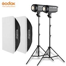 2 قطعة Godox SL سلسلة فيديو ضوء SL 150W الأبيض النسخة فيديو ضوء المستمر ضوء + 2x70x100 سنتيمتر الفوتوغرافي Softbox + 2x280 سنتيمتر ضوء حامل