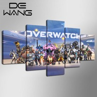 5 Pieces Overwatch Game Characters Poster HD Print Painting On Canvas For Living Room Modern Wall