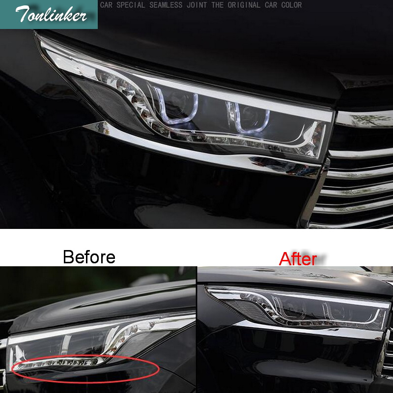 Tonlinker 2 PCS DIY Car styling ABS chrome Front headlight eyebrows light box Stickers for TOYOTA HIGHLANDER 2015 accessories