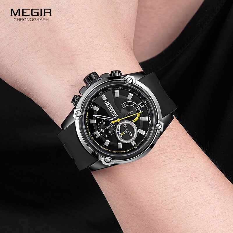 MEGIR армейские спортивные кварцевые часы для мужчин черный силиконовый ремешок военный морской хронограф наручные часы для мужчин Relogios 2086 черный