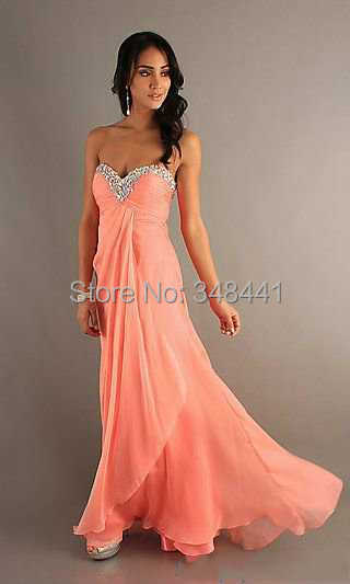 2015 New Arrival Peach Color Prom Gown Chiffon Sweetheart Beaded ...
