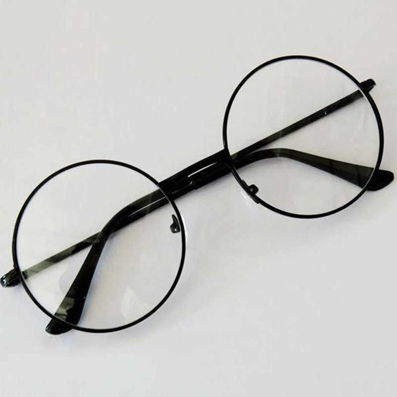 Unisex Retro Round Circle Metal Frame Eyeglasses Original Clear Lens Glasses 2 Styles Men High Quality Hot