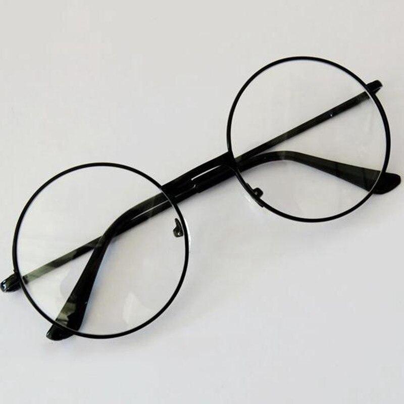 Unisexe rétro rond cercle métal cadre lunettes Original clair lentille lunettes 2 Styles hommes de haute qualité chaude