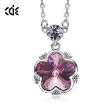 CDE Embellished with crystals Flower Pendant Necklace  925 Sterling Silver anniversary fine Jewelry Women Gifts