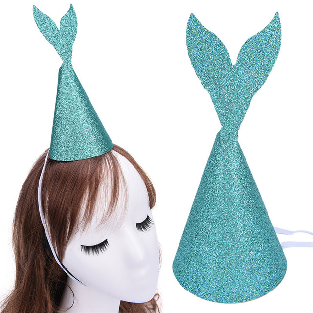 Lovely Diy Mermaid Tail Hats Gold Glitter Headdress Wedding Friend Kid S Birthday Party