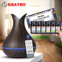 400ML Remote Control Ultrasonic Wood Grain Humidifier Aromatherapy Aroma Essential Oil Diffuser For Home Baby 6