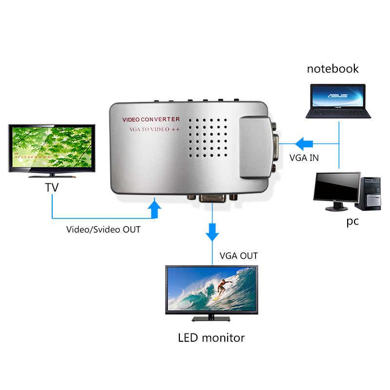 VGA TO AV/RCA/CVBS dan S-Video dan Vga Adapter Converter Gunakan untuk Menghubungkan Satu Buku Catatan untuk TV dan Monitor