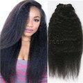 7А Малайзии Девственница Клип в Наращивание Волос Kinky Прямая Естественный Цвет Яки Клип Человеческих Волос