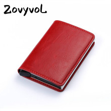 2019 Aluminium Box Crazy Horse PU Leather Fashion Card Wallet Credit Holder Men And Women Metal RFID Vintage  business card