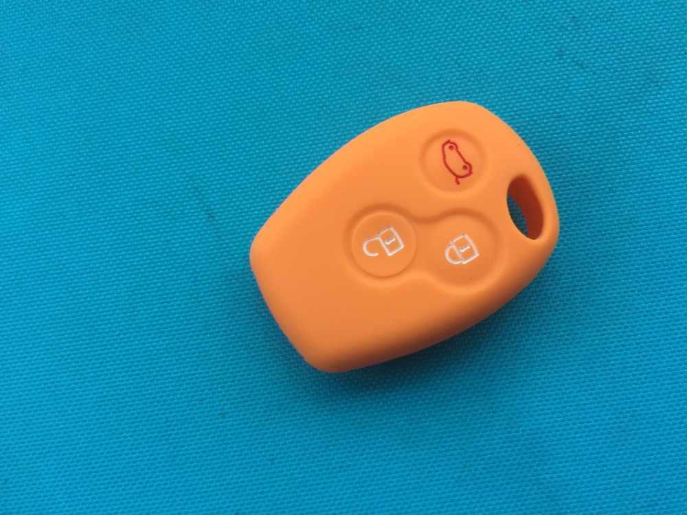Pusakieyy 1 Chìa Khóa Silicone Dành Cho Renault Clio DACIA Logan Sandero 3 Nút Điều Khiển Từ Xa Vỏ Fob Bao Phụ Kiện Xe Hơi phụ tùng ô tô