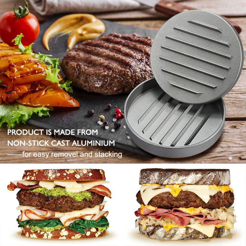 Redelijk 1 Pcs 12 Cm Houten Handvat Ronde Burger Druk Vlees Cake Druk Creative Multifunctionele Kookgerei Keuken Eetkamer Bar Gereedschap