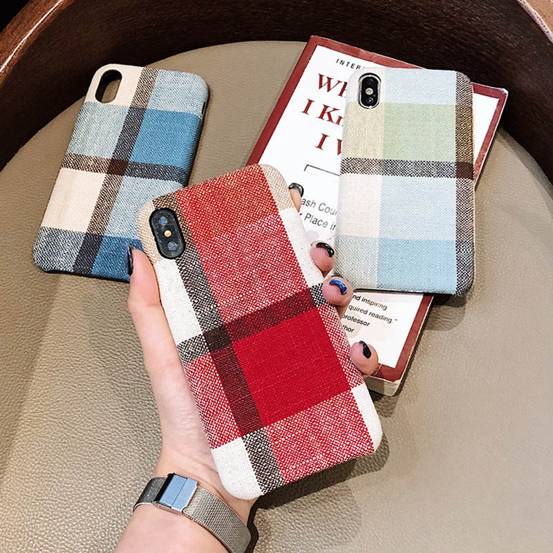 size 40 89c9f 1319a Vintage Fabric Cloth Case For Iphone 6 6S 7 8 Plus Grid Plaid Soft Cover  For Iphone XS Max XR Case Lattice Pattern Christmas