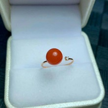 shilovem 18K rose Gold real Natural south Red agate rings fine Jewelry wedding new plant Christmas gift mym8.5-900nh