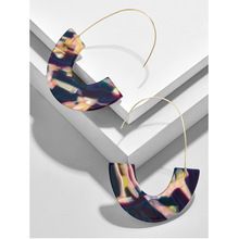 YJX Fashion Womens Semicircles Statement Earrings , Geometric Multi-coloured Resin Drop Threader Free Shipping