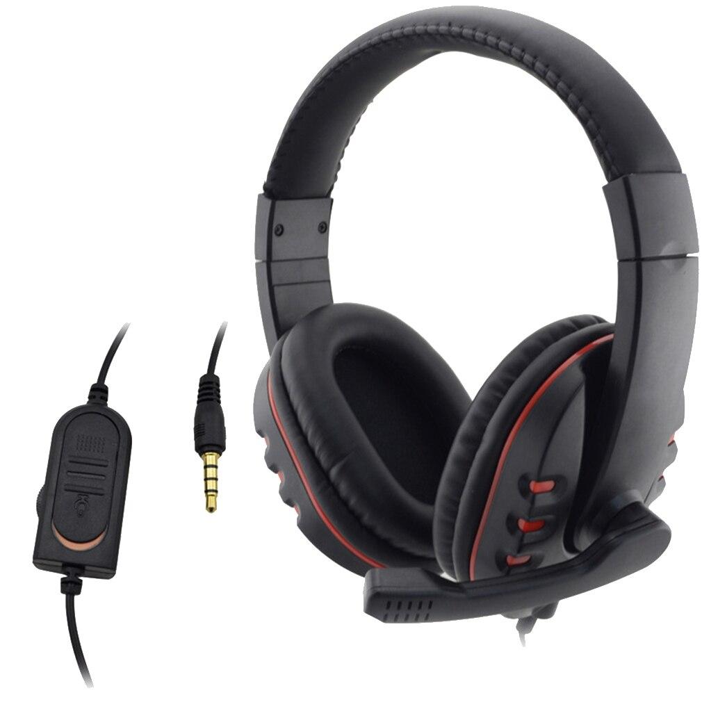 Auriculares con cable de 3,5mm de auriculares de música micrófono para PS4 Estación de juego 4 PC Chat para teléfono auriculares
