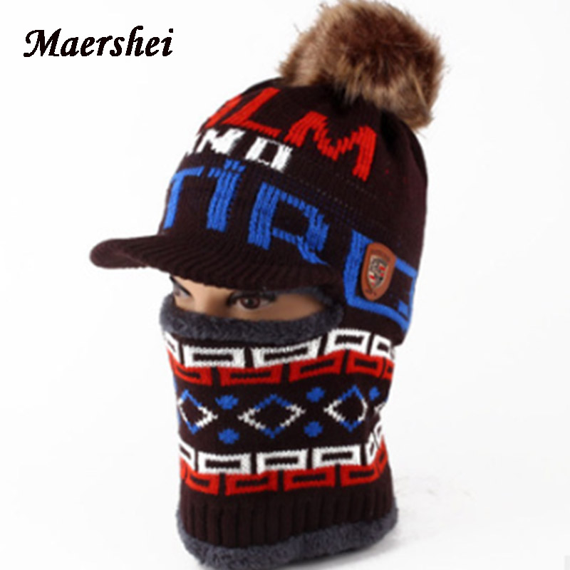 MAERSHEI Winter Kids Hat Boys Girls Scarf Knitted Hat Skullies Winter Hats Caps For Boy Mask Balaclava Bonnet Hats New