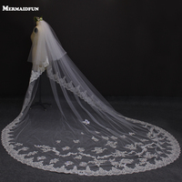 2019 Real Photos New Style Two Layers Lace Luxury Long Wedding Veils White Ivory 2T Bridal Veil Wedding Accessories