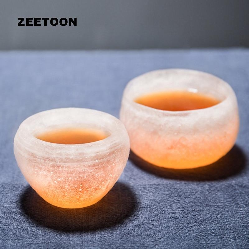 70 ml Boutique japonesa de cristal de escarcha de color glaseado Copa maestro Teacup de vidrio resistente al calor taza de nieve juego de té cuenco decoración del hogar