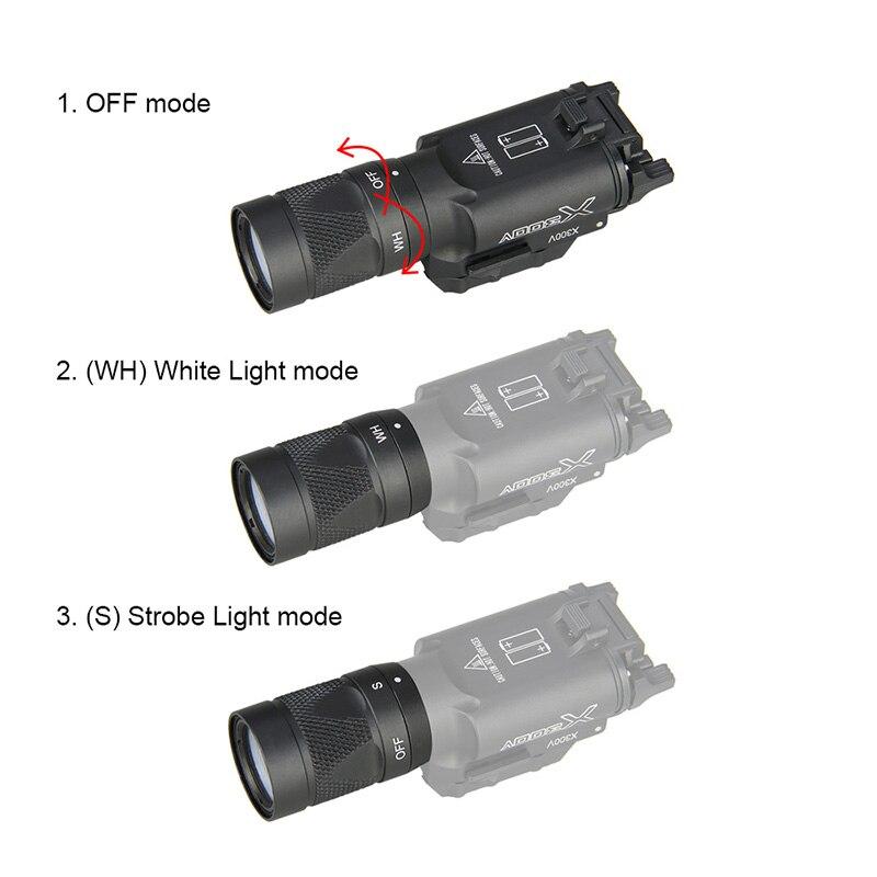 X300V Tactical Flashlight 500 Lumens Flashtorch Handgun Pistol Weapon Light Picatinny Rail GZ15 0070