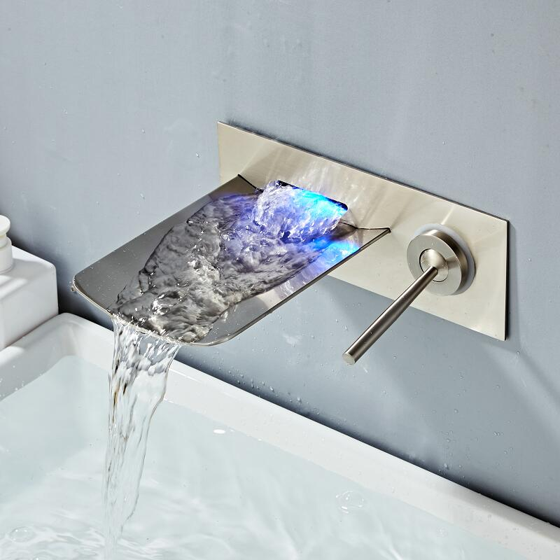 Bathroom Sink Faucet Wall Mounted Nickel LED Waterfall Mixer Bath Tap Temperature Control LED Faucet Chrome Black Finished Bathroom Sink Faucet Wall Mounted Nickel LED Waterfall Mixer Bath Tap Temperature Control LED Faucet Chrome Black Finished