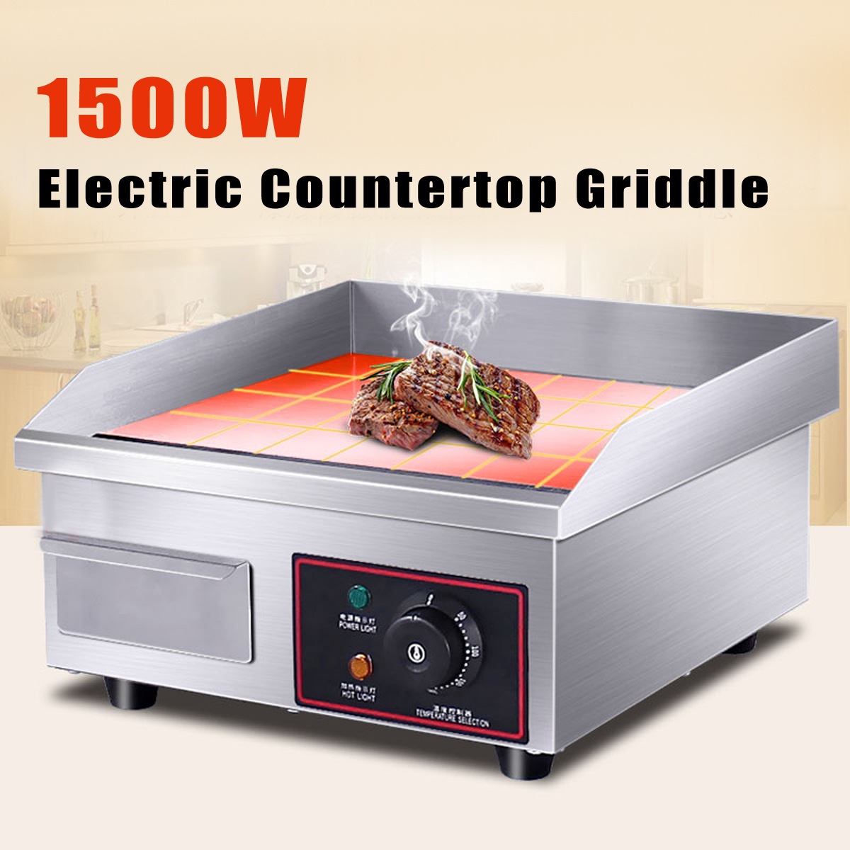 все цены на 1500W Electric Countertop Griddle Electric Heating Griddle Stainless Steel Flat Top Commercial Restaurant Grill BBQ 220V онлайн