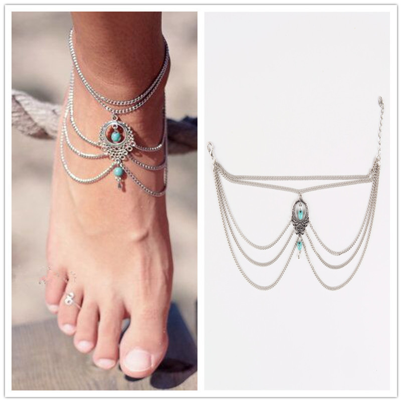 2016 Hot Summer Ethnic Turquoise Beads Anklets Bohemian Chic Tassel Foot Chain Anklet Bracelet Body Jewelry Anklets For Women