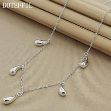 DOTEFFIL 925 ayar gümüş beş su damlacıkları/yağmur damlaları kolye zinciri kadınlar nişan düğün moda Charm takı