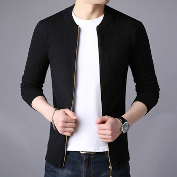 Cardigan Solid Stand Collar Zipper Men's Sweater