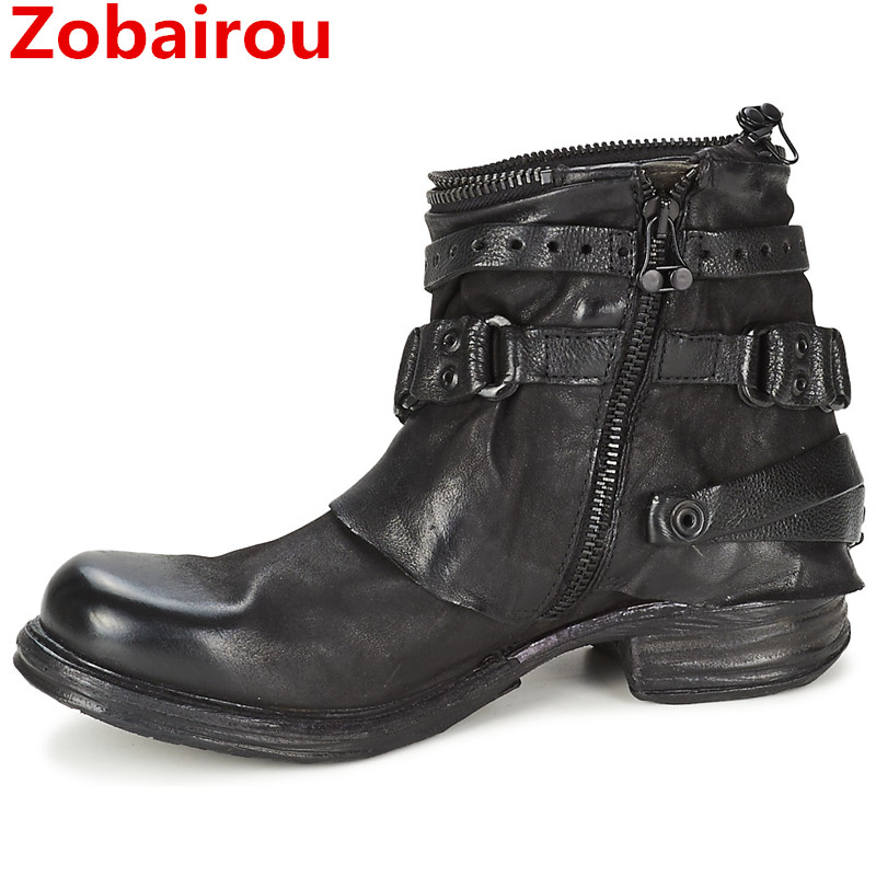 Zobairou Western Design Zapatos Mujer Biker Boots Genuine Leather Round Toe Cowboy Boots Shoes Women Rain Boots