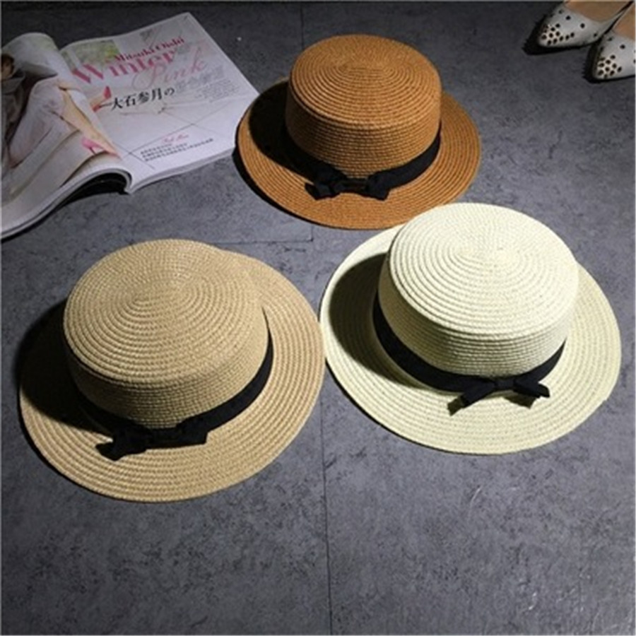 2f9317de7d9 New Ladys Women Classic Vintage Style Natural Flat Straw Hat Summer Beach  Fedora Trilby Panama Brim Bonnet Cap With Bowknot Belt ~ Free Delivery June  2019