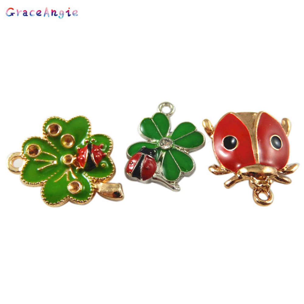 f86bd5241 ... GraceAngie 6PCS Beautiful Clover and ladybug Charms Gold Silver  Necklace Pendant DIY Bracelet Jewelry Crafts Findings ...