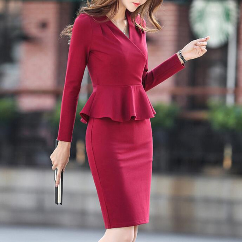 2020 Spring Autumn Women OL Skirts Suits Elegant Formal Office Fake 2 Piece Pencil Skirts Female Business Blazer Outfits Set