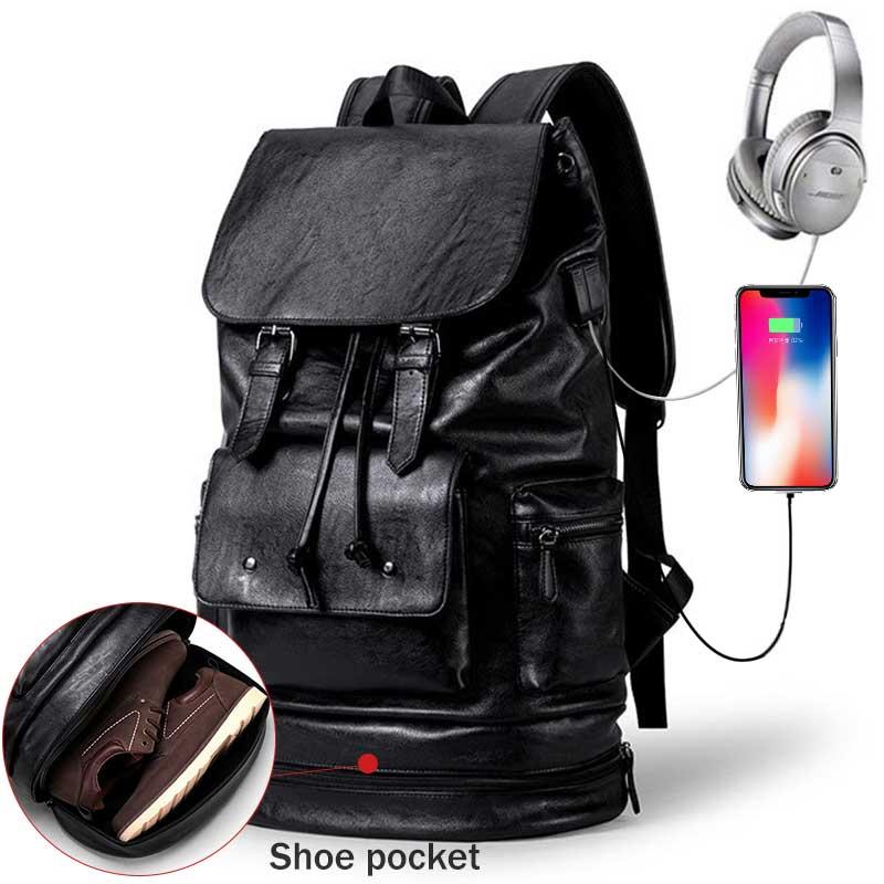 Multifunction Men Backpack With Shoe Pocket Male Laptop Backpack PU Leather Black Travel Backpack Waterproof Travel